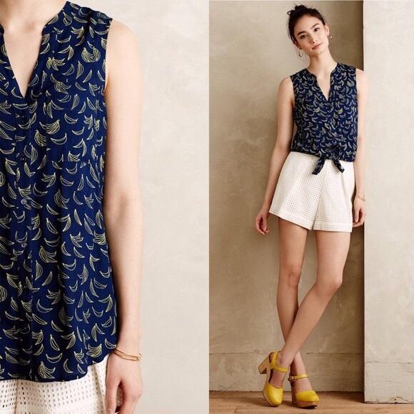 5996cc25acc12 Anthropologie Maeve sunseeker banana blouse. M 5b66799dc2e9fe29559a3d2b